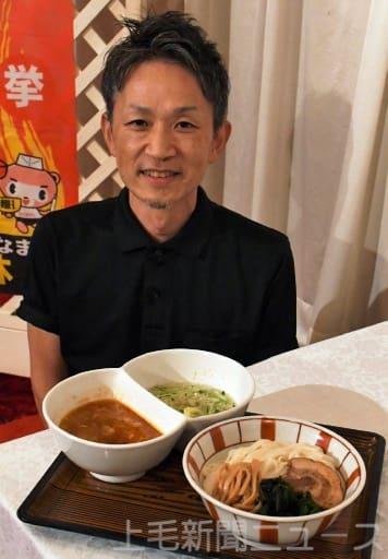 グランプリに選ばれたつけ麺「半分、赤い」と考案した神藤さん