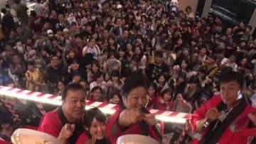 「京都国際マンガ・アニメフェア2018」の「名探偵コナン」のイベントに登場した(左から)読売テレビの諏訪道彦エグゼクティブプロデューサー、諸國沙代子アナウンサー、山口勝平さん、米倉功人プロデューサー