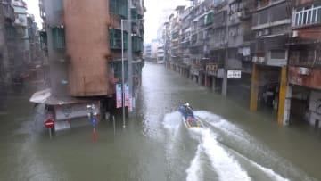 台風22号の影響で1メートル規模の浸水被害が出た内港エリア一帯=2018年9月16日(写真:GCS)