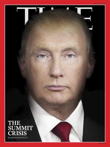 トランプ米大統領とプーチン露大統領の合成写真を表紙に使った米誌タイム(タイム提供、共同)