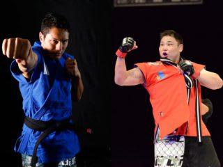 RIZINで朝青龍推薦モンゴル相撲出身選手に敗れたシビサイ(左)が、元大相撲のモンゴル出身力士・星風(右)と対戦