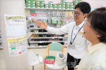 田口さん(奥)が作ったセルフメディケーション税制を周知するポップ広告