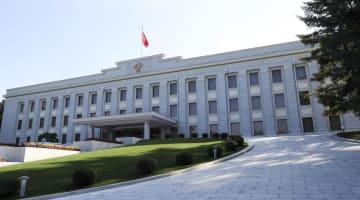 平壌の朝鮮労働党本部庁舎=18日(平壌写真共同取材団・共同)