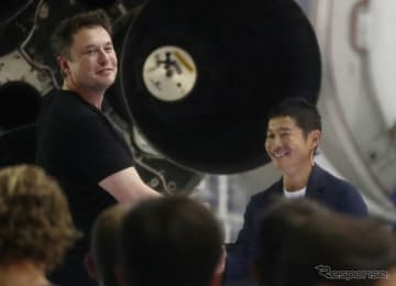 最初の月旅行客に選ばれた前澤氏(向かって右)とマスク氏 (c) Getty Images