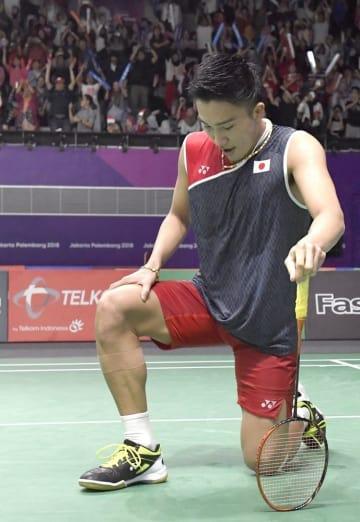 ジャカルタ・アジア大会、バドミントン男子シングルス3回戦で、インドネシア選手に敗れた桃田賢斗=ジャカルタ(共同)