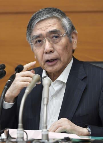 金融政策決定会合後、記者会見する日銀の黒田総裁=19日午後、日銀本店