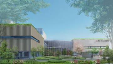 島津製作所が基盤技術研究所の敷地内に建設する新棟「SHIMADZUみらい共創ラボ」(左)の完成イメージ図