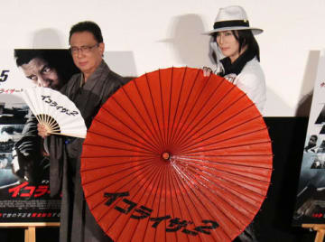 映画「イコライザー2」特別試写会イベントに登場した梅沢富美男さん(左)と京本政樹さん