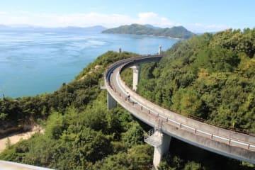写真でよく見る来島海峡第一大橋から見たループ状の自転車歩行者道。走りたかった!