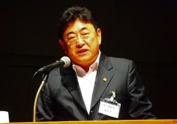 日本企業との連携を求める中国交通建設の孫副総裁=14日、東京・江東区(NNA撮影)