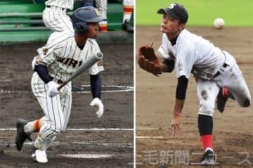 (左から)出塁率6割超を誇る桐生第一のリードオフマン工藤、2試合に先発し、チームを初のベスト8進出に導いた渋川青翠の宮下