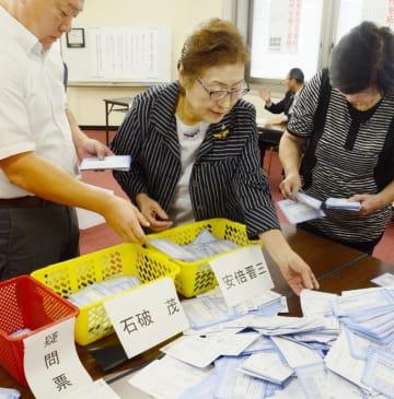 自民党総裁選の地方票の開票作業に当たる福井県連関係者ら=9月20日、福井市の福井県繊協ビル