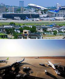伊丹空港(上)と神戸空港