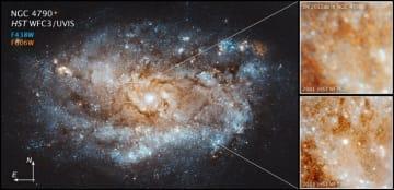 おとめ座NGC 4790(左)。超新星前の2001年撮影(右上)と2013年撮影(右下)。(C)NASA, ESA, and J.DePasquale [STScI]