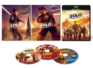 ウォルト・ディズニー・ジャパン/10月17日発売、初回版はSWブラック・パッケージ「ハン・ソロ&チューバッカ」アウターケース付き(両面仕様)4200円+税(3枚組)、4K UHD MovieNEXは8000円+税(4枚組)、4K UHD MovieNEXスチールブック(数量限定)は9000円+税(4枚組)で同時発売、10月3日よりデジタル配信開始特典=監督とキャストたちによる撮影秘話、父子がつなぐ物語、ミレニアム・ファルコン、コレリアからの逃亡、未公開シーン他