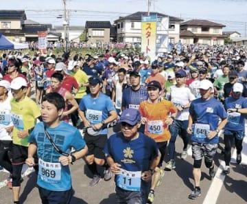 2092人、宝達志水を快走 初開催の宝浪漫マラソン