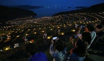 棚田で火祭り、光の階段出現 松浦市 [長崎県]