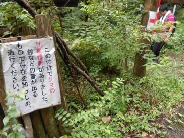 日向林道から大山への登山口に設置されたクマへの注意掲示=伊勢原市