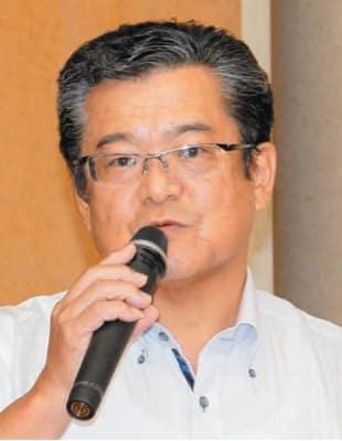 避難所運営の体験を話す熊本県西原村の堀田村議