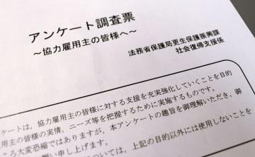 法務省が「協力雇用主」に対して送付したアンケート