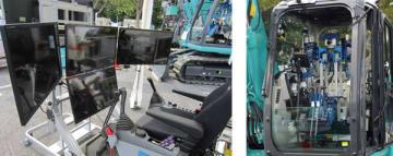 左:コックピットからの視覚は4台のモニターで構成されている 右:運転席に取り付けたロボット