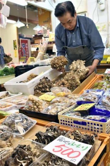 秋田市中通の秋田市民市場に並ぶキノコ。キノコ採りで入山する際は遭難への注意が必要だ