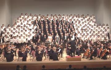 徳島からの出演者も加わった第九アジア初演100周年記念演奏会=福島県会津若松市の會津風雅堂