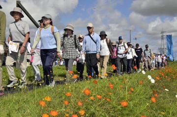 秋晴れの中、景色を楽しみながらウオーキングする参加者