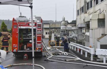 爆発事故があった那須ニコンの工場=25日午後1時10分ごろ、栃木県那須烏山市