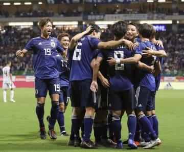 11日のコスタリカ戦でゴールを喜ぶ日本代表=パナスタ