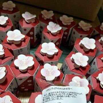 【広島県三原市の災害ボランティア向けに送ったメッセージ入りの個包装の白干し梅】