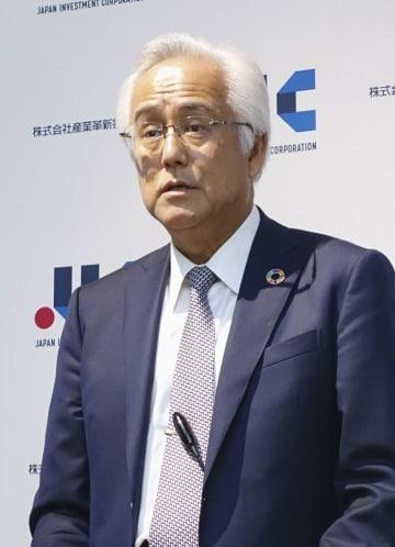 産業革新投資機構の新社長に就任し、記者会見する田中正明氏=25日午後、東京都中央区