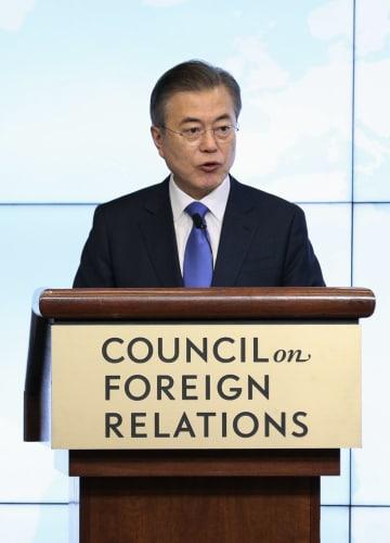25日、ニューヨークでの会合で演説する韓国の文在寅大統領(聯合=共同)