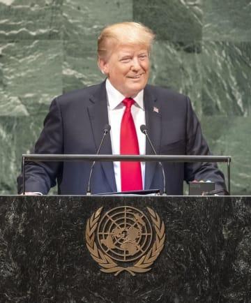 25日、国連総会で演説するトランプ米大統領=ニューヨーク(国連提供・共同)