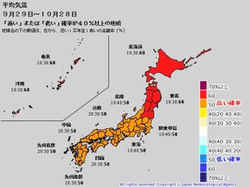 1か月予報(9月29日~10月28日の平均気温) 出典=気象庁ホームページ