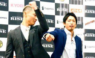 拳をアゴの下に突き上げてきた篠塚(左)に、ムッとした森本(右)は突き飛ばす