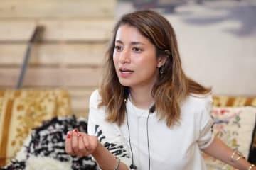「かっこよさを追求したら、自然と持続可能性になる」と話すマリエ=9月6日、アッシュ・ペー・フランスが五反田で開いた「rooms experience」内で