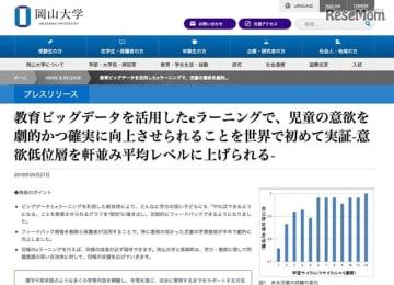 岡山大学「教育ビッグデータを活用したeラーニングで、児童の意欲を劇的かつ確実に向上させられることを世界で初めて実証-意欲低位層を軒並み平均レベルに上げられる-」