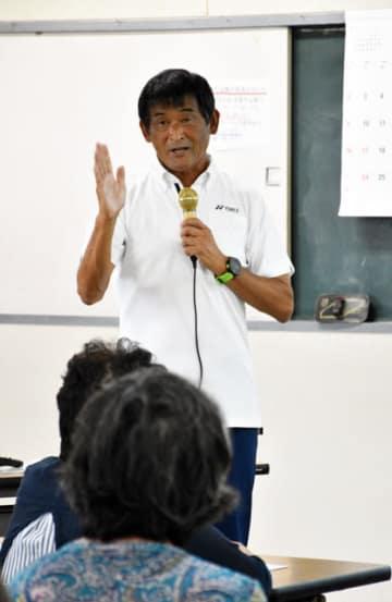 串間市で講演した谷口さん