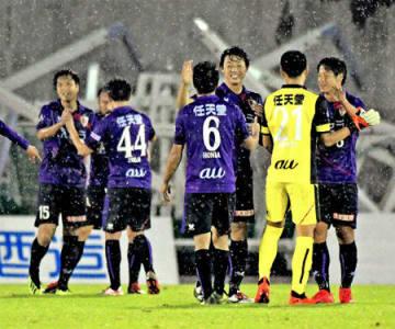 26日の福岡戦で6試合ぶりに勝利したサンガイレブン。勢いに乗って熊本に乗り込む(西京極)