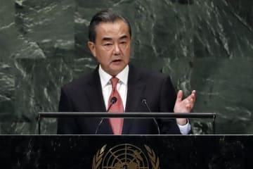 国連総会で一般討論演説を行う中国の王毅国務委員兼外相=28日、国連本部(AP=共同)