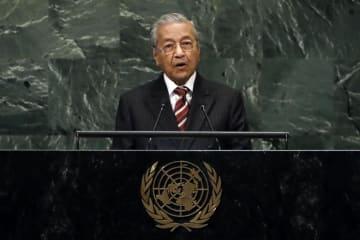 国連総会の一般討論で演説するマレーシアのマハティール首相=28日、ニューヨーク(AP=共同)