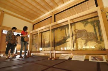 名古屋城本丸御殿で特別展示が始まった、国指定重要文化財のふすま絵「竹林豹虎図」。かもいと敷居の間にはめ込まれて公開された=29日午前、名古屋市