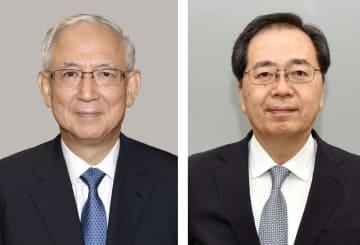 公明党の井上義久幹事長、斉藤鉄夫幹事長代行