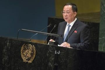 29日、ニューヨークの国連本部で国連総会一般討論演説を行う北朝鮮の李容浩外相(AP=共同)