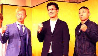 那須川(左)と堀口(右)の試合が瞬間最高視聴率を記録。生中継ならもっと伸びたのではと榊原実行委員長(中央)は悔しがった