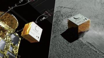 探査機「はやぶさ2」に搭載された着陸機「マスコット」のイメージ(JAXA提供)