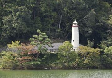 メッツァ園内に再現されたムーミンの原作に登場する灯台=3日午後、埼玉県飯能市