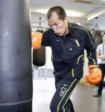 練習を公開したミラン・メリンド=東京都新宿区の帝拳ジム