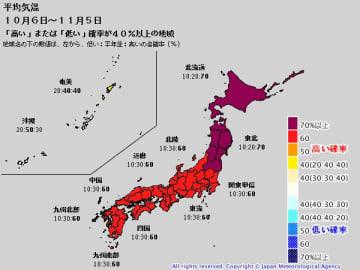 平均気温の1か月予報(10月6日~11月5日) 出典:気象庁ホームページ